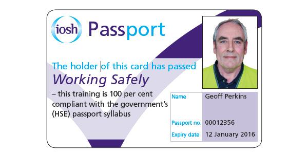 IOSH Working Safely Passport Example